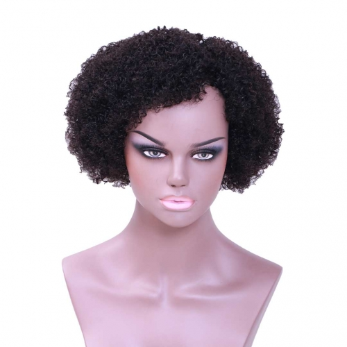 Evova Short Bob Wigs Cheap Human Hair Curly Wigs Machine Made
