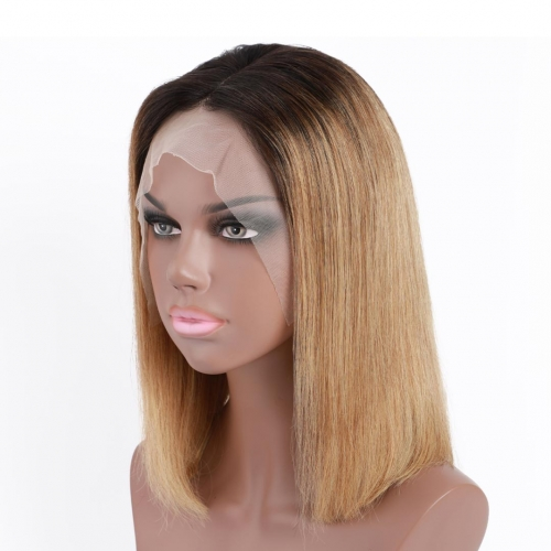 Mix Color Black Honey Blonde Ombre Wigs HAIRCC 13x4 Lace Front Remy Human Hair Bob Wigs