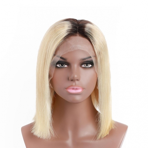 HAIRCC Short Bob Wigs Blonde Lace Front Remy Human Hair Wigs 13x4 Pre Plucked