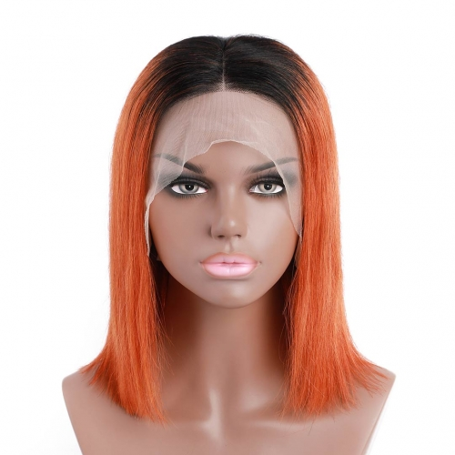 Short Bob Wigs T1b/orange Ombre Color Lace Wigs 13x4 Pre Plucked HAIRCC Remy Hair