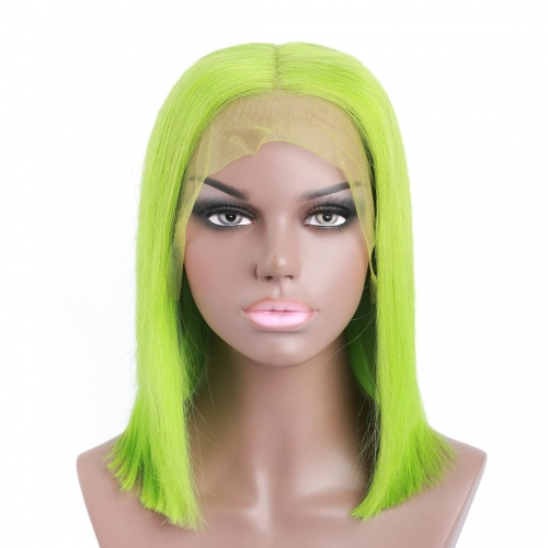 Short Bob Wigs Green Color Lace Front Remy Human Hair Wigs 13x4 Pre Plucked