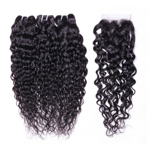 Water Wave Hair Weaving 3 Bundles With Closure 4x4 Hot Selling Evova Hair