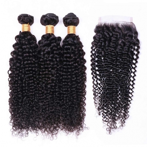 Curly Human Hair Weave 3 Bundles With 4x4 Closure Evova Thick Hair