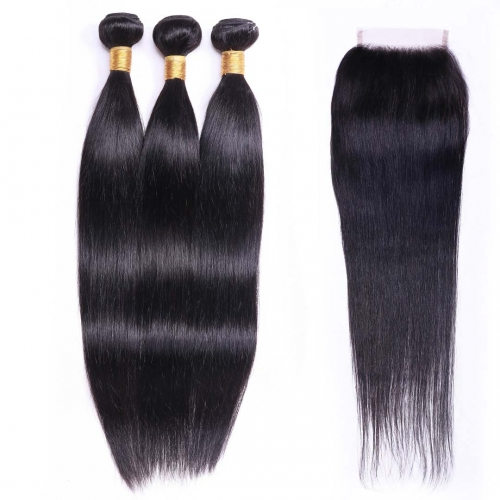 Evova Soft Straight Human Hair Bundles 3pcs With Closure Free Part Middle Part Three Part For Choice