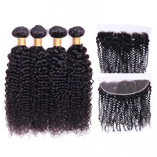Curly Human Hair Weave 4 Bundles With 13x4 Frontal Evova Cheap Hair