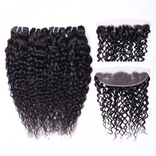 Evova Hair Weave 4 Bundles With 13x4 Frontal Water Wave Hair