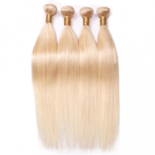 Lightest Blonde Straight Human Hair Weave 4 Bundles Hot Sale HAIRCC Remy Hair