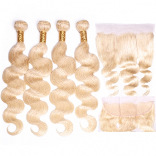 Blonde Hair Weave 4 Bundles With 13x4 Frontal Body Wave HAIRCC Remy Hair