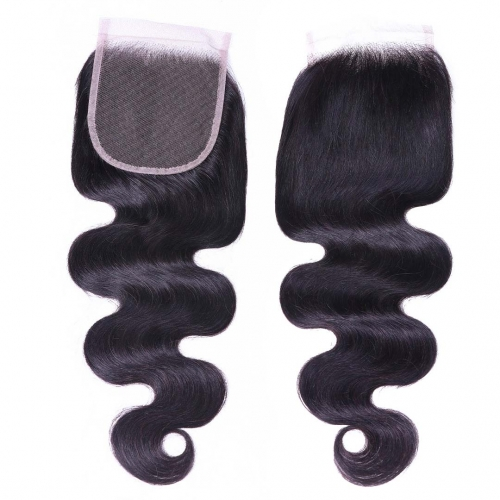 Body Wave Human Hair 4x4 Lace Closure Free Part Middle Part Three Part Evova Hair