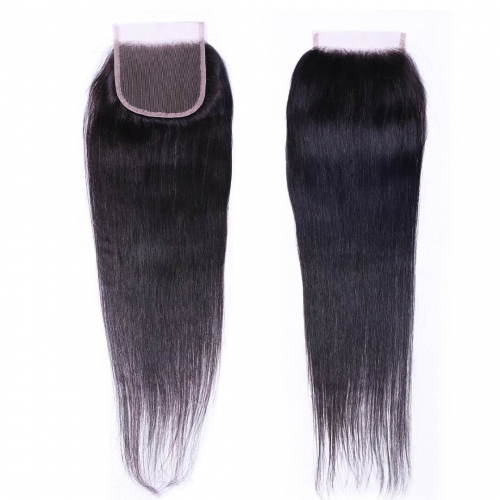 Straight Human Hair 4x4 Lace Closure Free Part Middle Part Three Part Evova Hair
