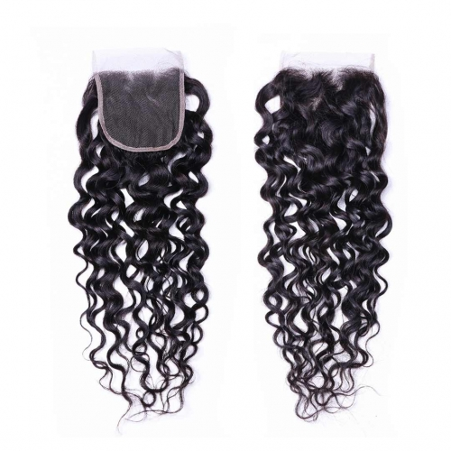 Water Wave Human Hair 4x4 Lace Closure Free Part Middle Part Three Part Evova Hair