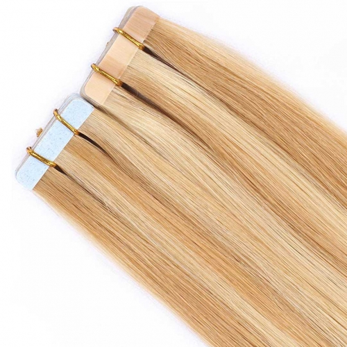 Remy Human Hair Tape In Extensions Piano Color Honey Blonde #P27/613 20pcs HAIRCC Hair