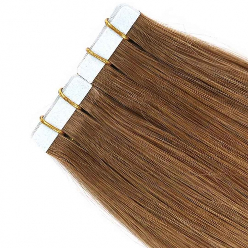 Remy Human Hair Tape In Extensions Light Brown #8 20pcs HAIRCC Hair