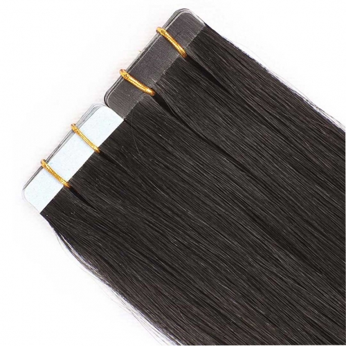 Remy Human Hair Tape In Extensions Natural Black #1b 20pcs HAIRCC Hair
