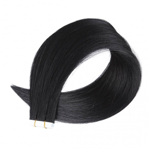 Tape In Extensions Jet Black #1 Virgin Remy Human Hair 20pcs EBBA Hair