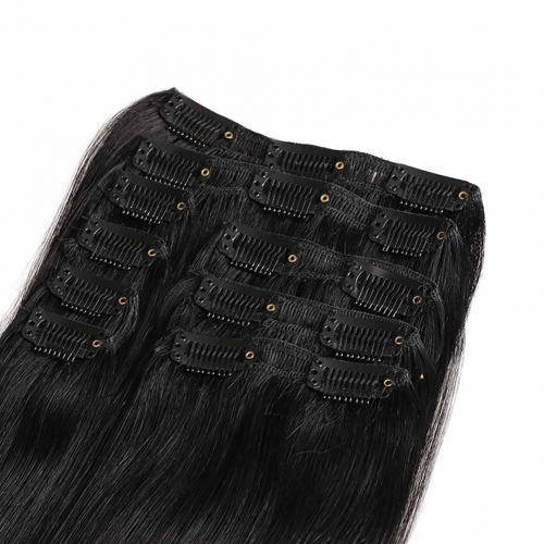 20in Jet Black #1 Clip In Hair Extensions Cheap HAIRCC Remy Human Hair Extensions
