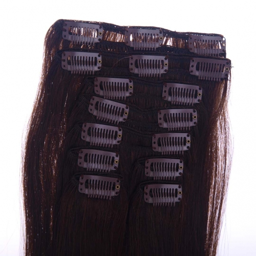 18in Darkest Brown #2 Clip In Hair Extensions Cheap Evova Human Hair Extensions