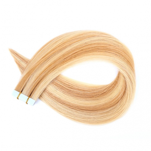 Tape In Extensions Piano Color 27/613 Honey Blonde Virgin Remy Human Hair 20pcs EBBA Hair