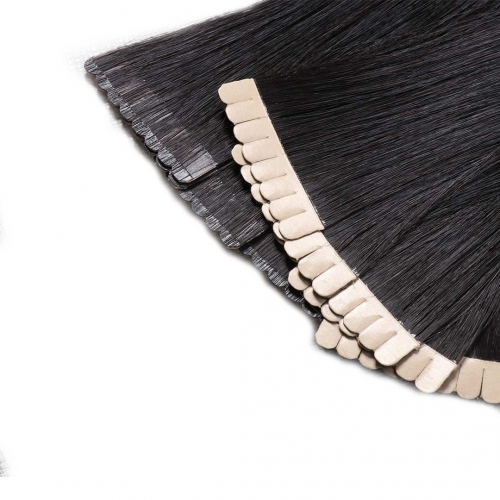 Natural Black Tape In Extensions Virgin Remy Human Hair 20pcs EBBA Hair
