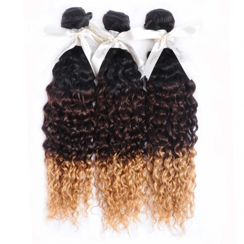 Cheap Ombre Curly Hair Weave 3 Bundles Black Brown Blonde HAIRCC Remy Hair
