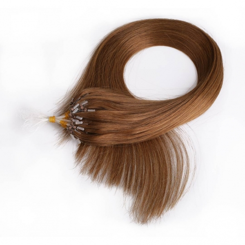 Dark Brown #4 Micro Loop Ring Hair Extensions 100 Strands HAIRCC Remy Human Hair Extensions