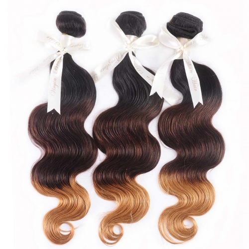 Cheap Ombre Hair Weave 3 Bundles Body Wave Black Brown Blonde HAIRCC Remy Hair