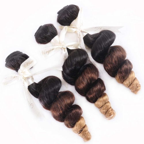 Cheap Ombre Hair Weave 3 Bundles Loose Wave Black Brown Blonde HAIRCC Remy Hair
