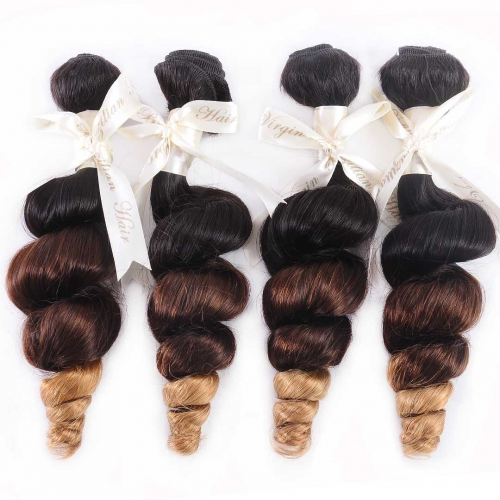 Ombre Hair Weave Loose Wave 4 Bundles Good Quality HAIRCC Remy Hair