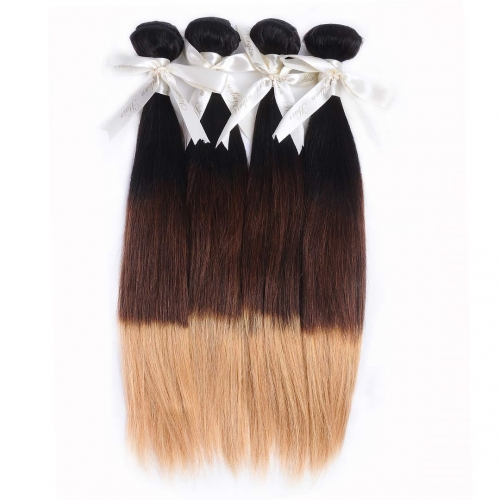 Ombre Straight Hair Weave 4 Bundles Good Quality HAIRCC Remy Hair