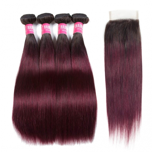 4 Bundles Ombre Straight Hair Weave With 4x4 Closure T1B/99J HAIRCC Remy Hair Red Wine