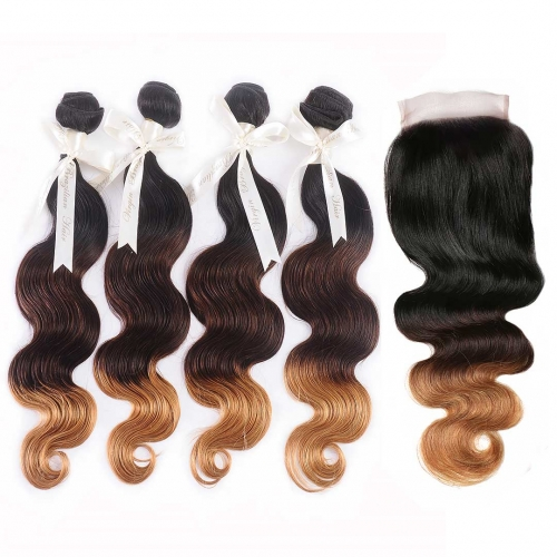 4 Bundles Ombre Hair Weave With 4x4 Closure Body Wave T1B/4/27 HAIRCC Remy Hair