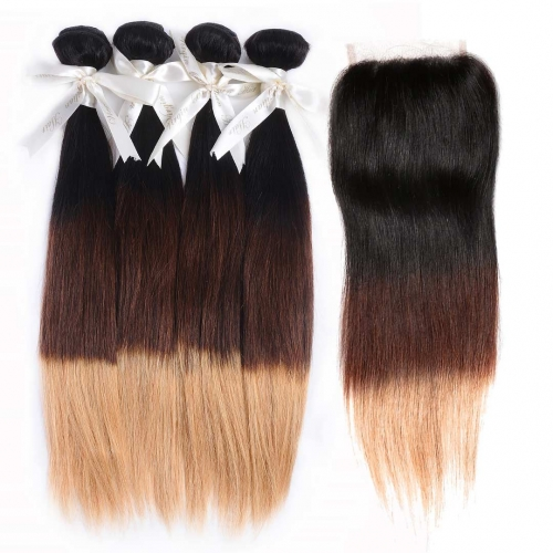 4 Bundles Ombre Straight Hair Weave With 4x4 Closure Brown Blonde HAIRCC Remy Hair