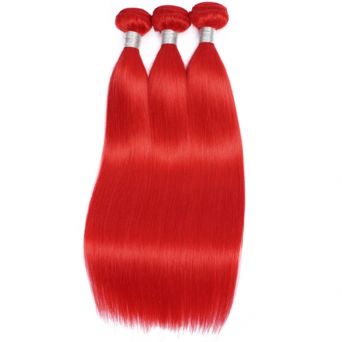 Red Human Hair Weave 3 Bundles Straight Affordable HAIRCC Remy Hair Weft
