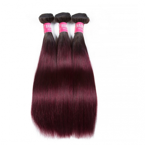 Cheap Ombre Straight Hair Weave 3 Bundles T1B/99J Soft HAIRCC Remy Hair Natural Black Red WIne