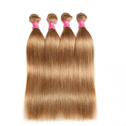 Straight Honey Blonde Remy Hair Weave 4 Bundles Thick HAIRCC Hair