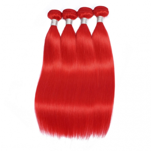 Red Human Hair Weave 4 Bundles Silky Straight Good Quality HAIRCC Remy Hair Weft