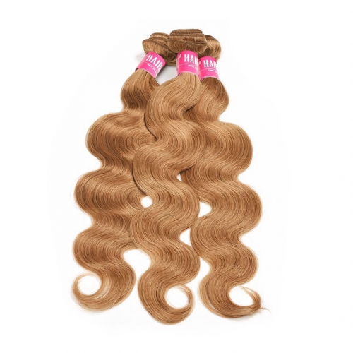 Honey Blonde Hair Weave 3 Bundles Body Wave Bouncy HAIRCC Remy Hair Weft