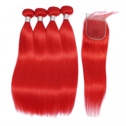 4 Bundles Red Hair Weave With 4x4 Closure Straight HAIRCC Remy Hair