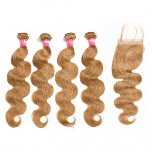 Body Wave Honey Blonde Remy Hair Weave 4 Bundles With Closure 4x4 Great HAIRCC Hair