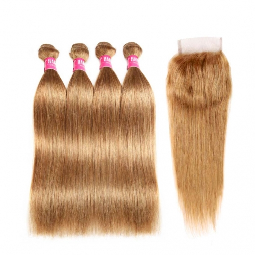 Straight Honey Blonde Hair Weave 4 Bundles With Closure 4x4 Great HAIRCC Remy Hair