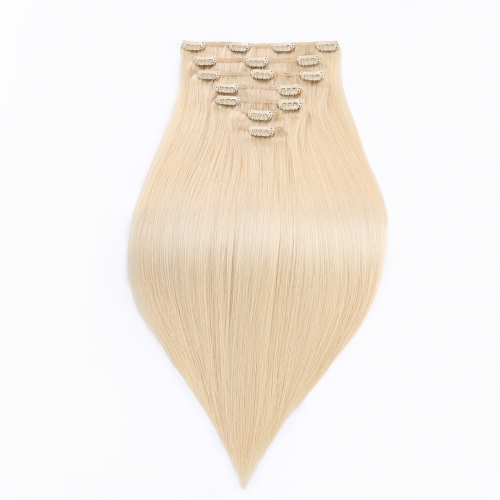 14in 16in 18in Clip In Remy Human Hair Extensions Bleach Blonde Good HAIRCC Hair