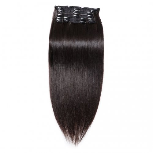 20in Virgin Remy Hair Clip In Extensions 10pcs/Pack Natural Black Best EBBA Hair
