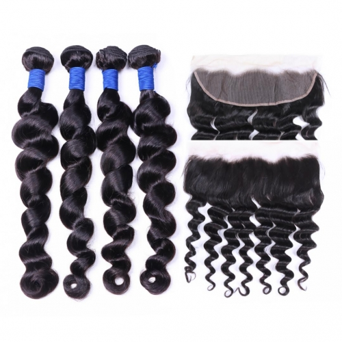 4 Bundles Virgin Hair Weave With 13x4 Frontal Loose Wave Soft Bouncy HAIRCC Hair