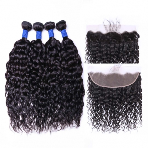 Virgin Human Hair Weave 4 Bundles With 13x4 Frontal Water Wave Good Quality HAIRCC Hair