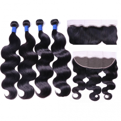 Virgin Human Hair Weave 4 Bundles With 13x4 Frontal Body Wave Soft Bouncy HAIRCC Hair