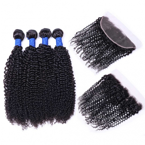 Curly Virgin Human Hair Weave 4 Bundles With 13x4 Frontal Thick HAIRCC Hair