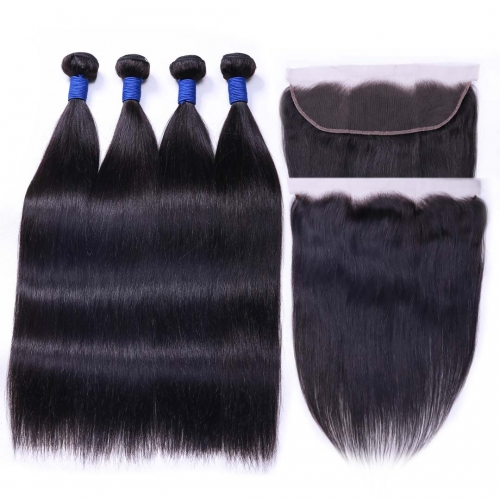 Virgin Human Hair Weave 4 Bundles With 13x4 Frontal Silky Straight Soft HAIRCC Hair