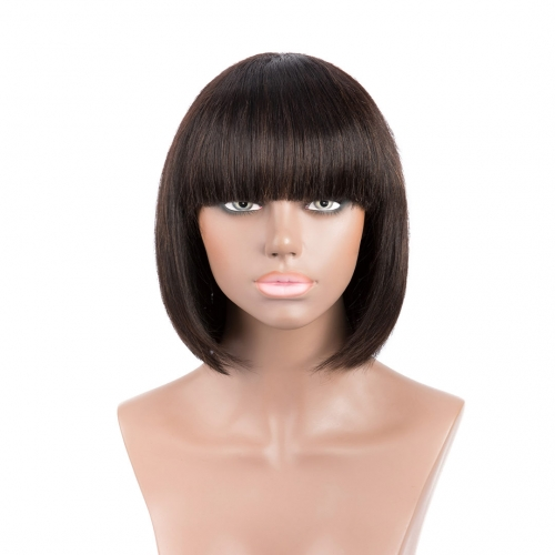 Short Bob Wigs Machine Made 12in Non Lace Straight Human Hair Wigs Evova Hair
