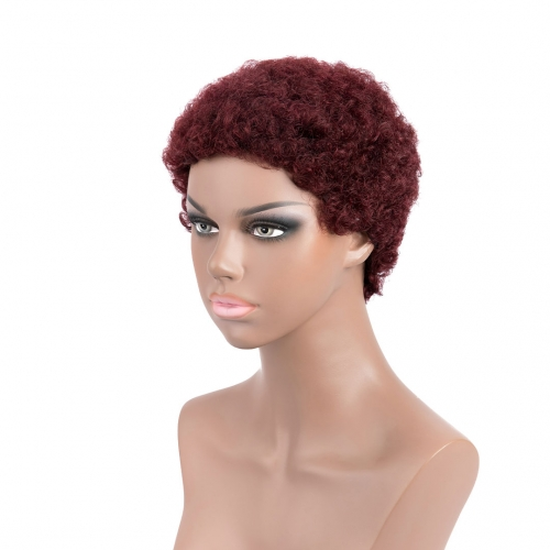 Cute Afro Curly Human Hair Wigs Evova Dark Red Machine Made Wigs Non Lace Cheap Wigs