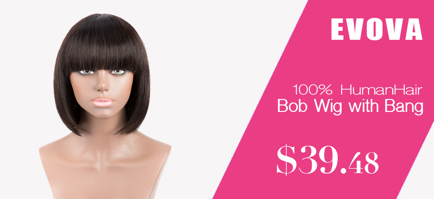 Machine Made Human Hair Wigs With Bang